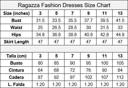 Ragazza Fashion Quinceanera Size Chart
