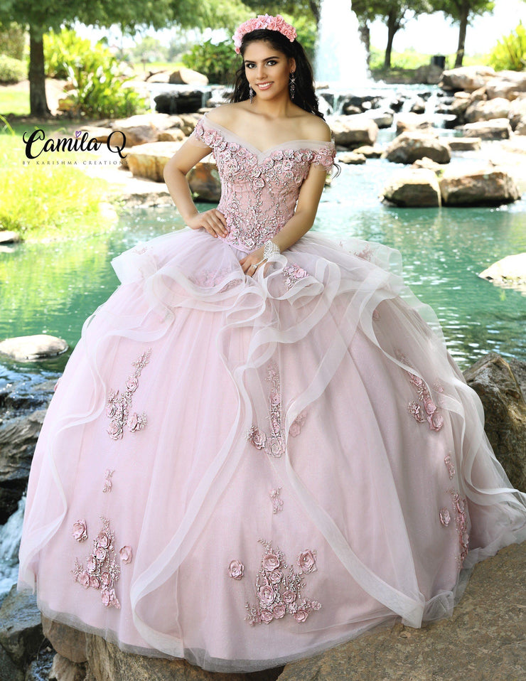 2 Piece Floral Applique Tulle Quinceanera Dress by Camila Q Q1007-Quinceanera Dresses-ABC Fashion