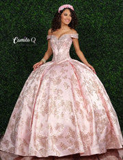2 Piece Off Shoulder Satin Quinceanera Dress by Camila Q Q1005-Quinceanera Dresses-ABC Fashion