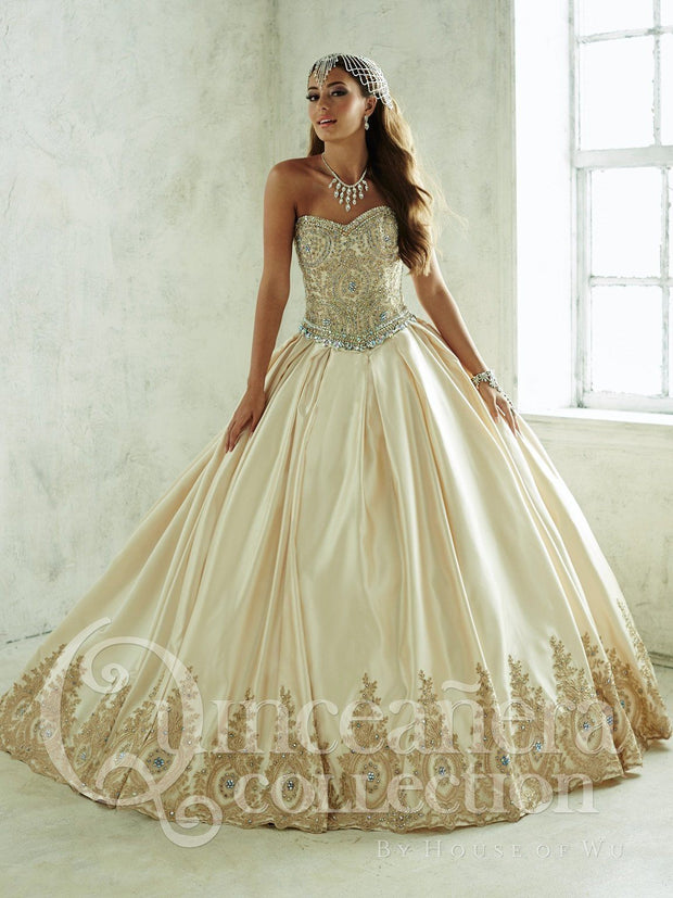 2 Piece Satin Strapless Quinceanera Dress by House of Wu 26826-Quinceanera Dresses-ABC Fashion