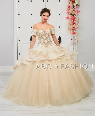 3-Piece Beaded Off Shoulder Quinceanera Dress by LA Glitter 24052-Quinceanera Dresses-ABC Fashion