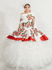 3-Piece Floral Charro Quinceanera Dress by LA Glitter 24075