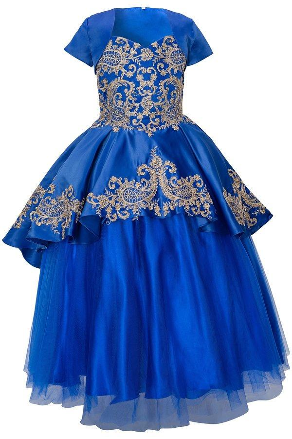 3 Piece Girls Embroidered Ball Gown with Detachable Skirt-Girls Formal Dresses-ABC Fashion