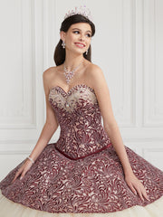 3 Piece Strapless Jacquard Quinceanera Dress by LA Glitter 24065-Quinceanera Dresses-ABC Fashion