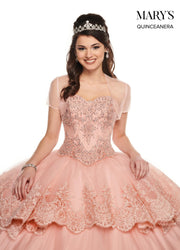 3-Piece Strapless Lace Quinceanera Dress by Mary's Bridal MQ2086-Quinceanera Dresses-ABC Fashion