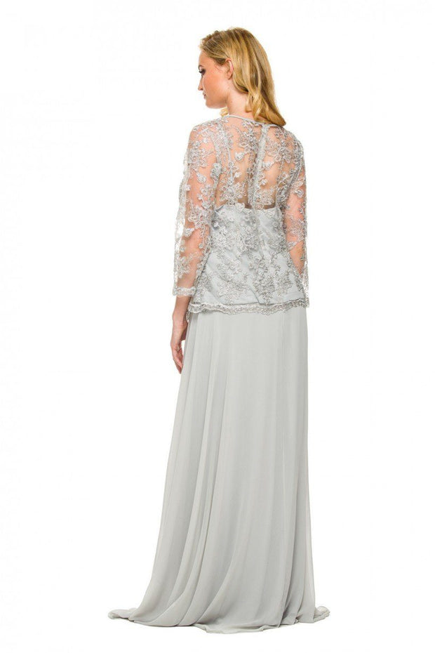 3/4 Length Sleeve Embroidered Illusion Dress by Nox Anabel 5096