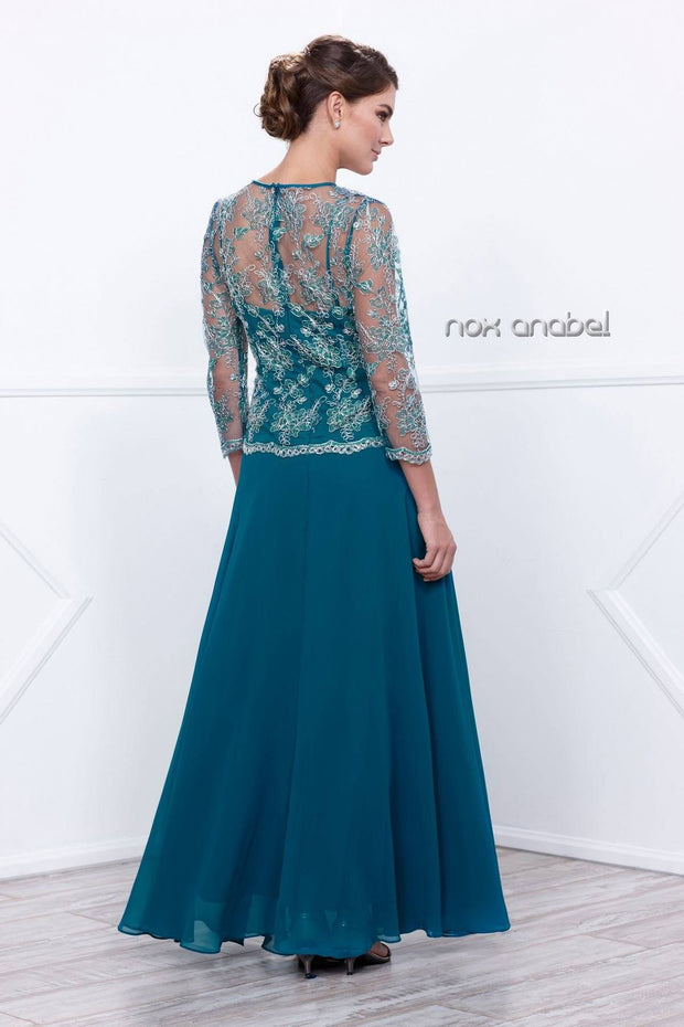 3/4 Length Sleeve Embroidered Illusion Dress by Nox Anabel 5096-Long Formal Dresses-ABC Fashion
