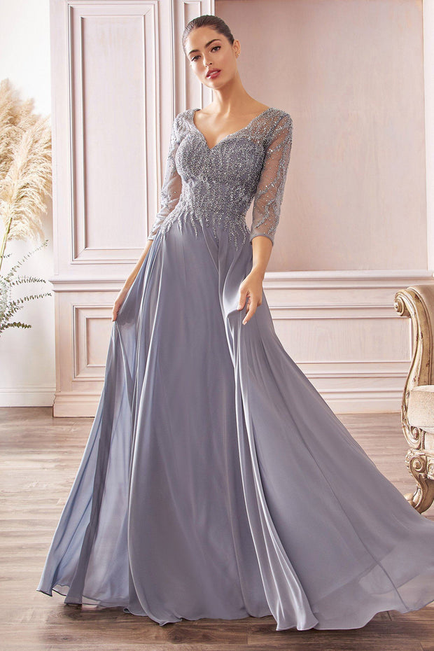 3/4 Sleeve Chiffon Gown by Cinderella Divine CD0171
