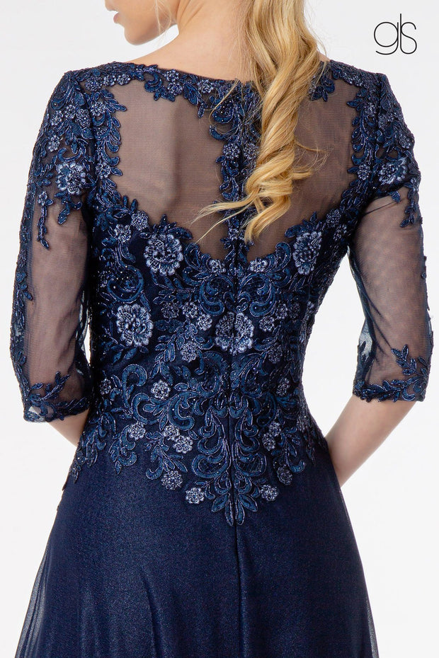 3/4 Sleeve Embroidered Bodice Chiffon Dress by Elizabeth K GL1825