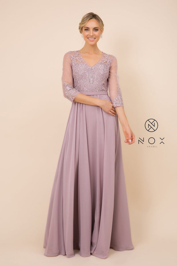 3/4 Sleeve Gown with Embellished Bodice by Nox Anabel Y532
