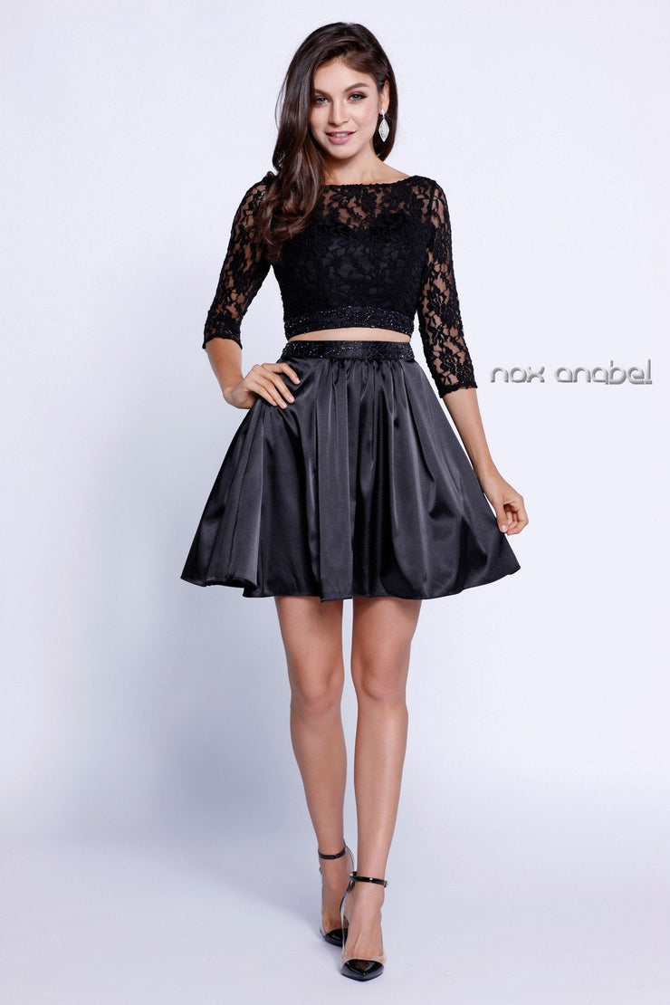 3/4 Sleeve Lace Crop Top Short Cocktail Dress by Nox Anabel 6166-Short Cocktail Dresses-ABC Fashion