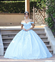 3D Applique Off Shoulder Ball Gown by Dancing Queen 1527