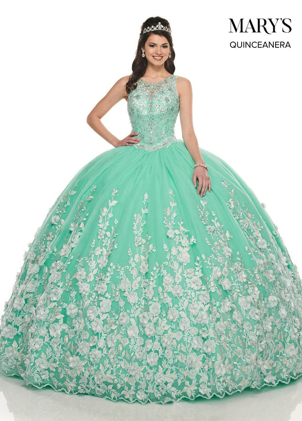 3D Floral Applique Quinceanera Dress by Mary's Bridal MQ2084-Quinceanera Dresses-ABC Fashion