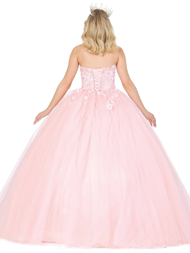 3D Floral Applique Strapless Ball Gown by Dancing Queen 1320