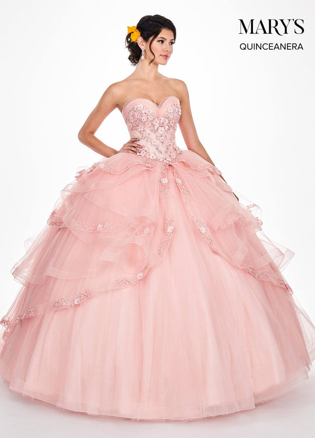 3D Floral Applique Strapless Quinceanera Dress by Mary's Bridal MQ2046-Quinceanera Dresses-ABC Fashion