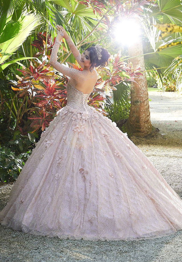 3D Floral Long Sleeve Quinceanera Dress by Mori Lee Vizcaya 89297
