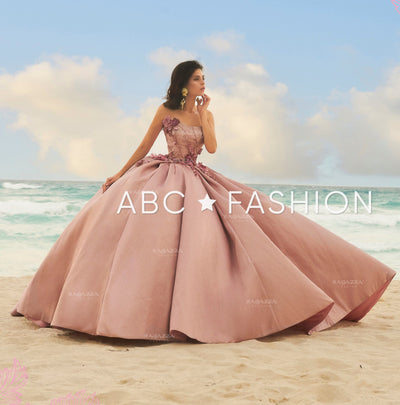 3D Floral Strapless Pink Quinceanera Dress by Ragazza Fashion DV19-519-Quinceanera Dresses-ABC Fashion