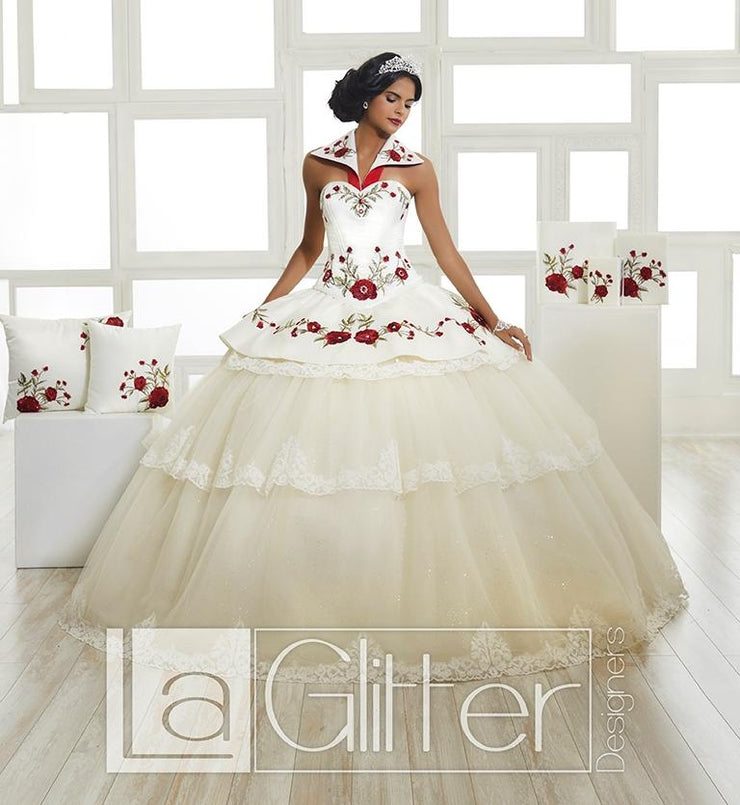 4-Piece Red Rose Charro Dress by House of Wu LA Glitter 24023-Quinceanera Dresses-ABC Fashion