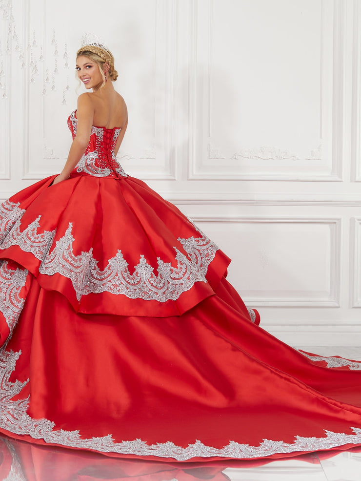 4-Piece Satin Sweetheart Quinceanera Dress by LA Glitter 24071
