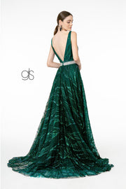 A-Line Glitter Gown with Beaded Waistband by Elizabeth K GL2928