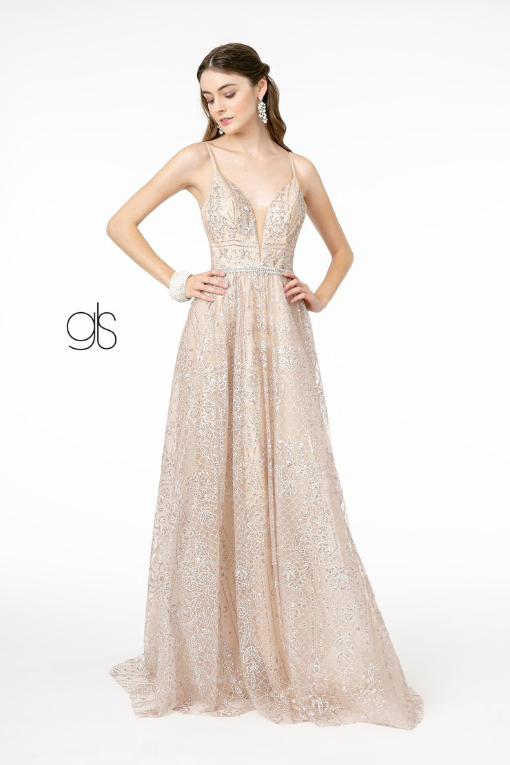 A-Line Glitter Gown with Deep V-Neck by Elizabeth K GL2915