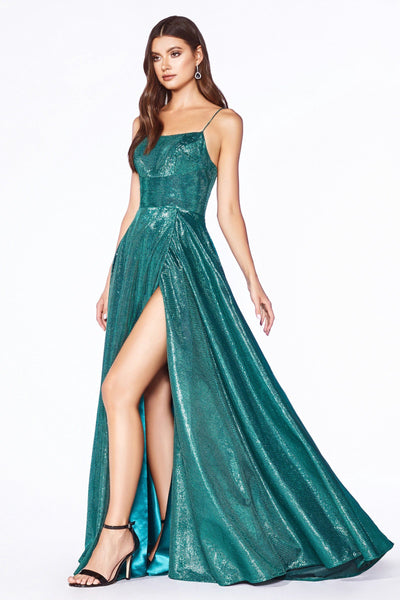 A-line Metallic Gown with Corset Back by Cinderella Divine CJ525