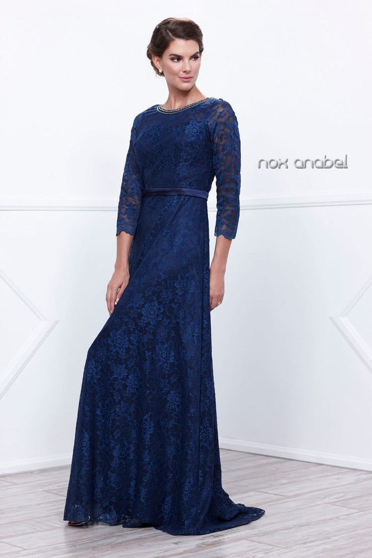 All Over Floral Lace Dress with 3/4 Sleeves by Nox Anabel 5131-Long Formal Dresses-ABC Fashion