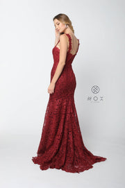 Allover Lace Sleeveless Mermaid Dress by Nox Anabel R216-Long Formal Dresses-ABC Fashion