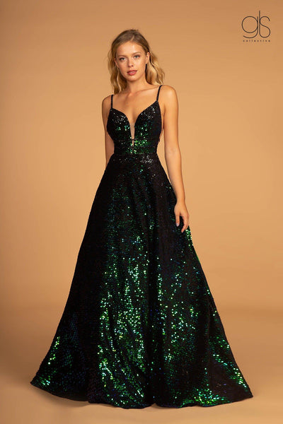 Allover Sequin Long A-line Dress with Open Back by Elizabeth K GL2581-Long Formal Dresses-ABC Fashion