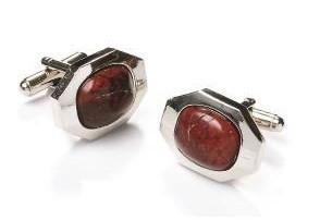 Amber Cat Eye Silver Cufflinks-Men's Cufflinks-ABC Fashion