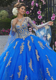 Applique Bell Sleeve Quinceanera Dress by Mori Lee Valentina 34021-Quinceanera Dresses-ABC Fashion