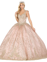 Applique Cap Sleeve Glitter Ball Gown by Dancing Queen 1478