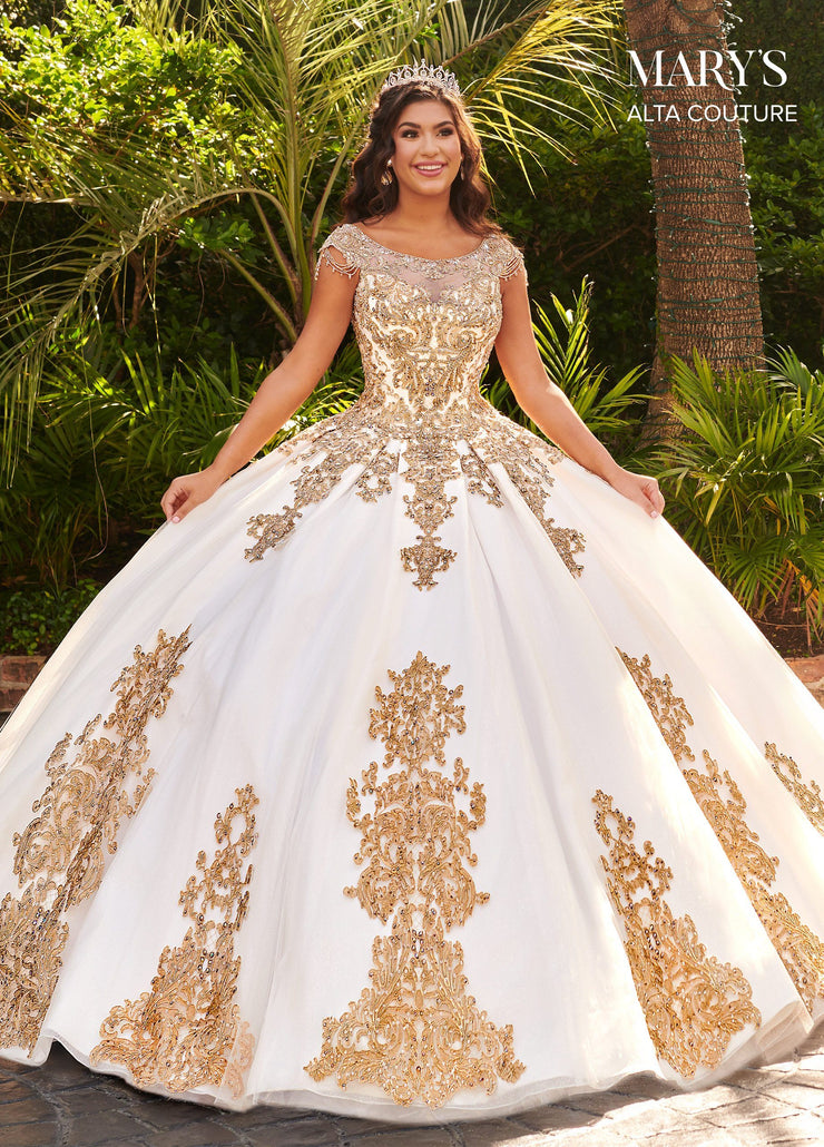 Applique Cap Sleeve Quinceanera Dress by Alta Couture MQ3055