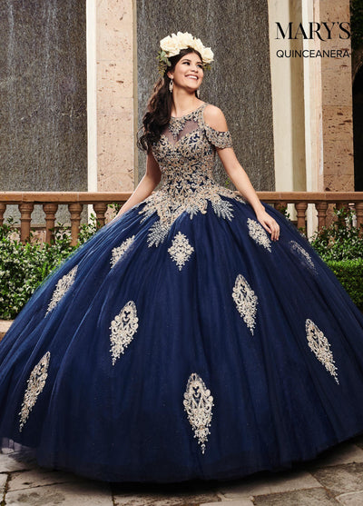 Applique Cold Shoulder Quinceanera Dress by Mary's Bridal MQ2091-Quinceanera Dresses-ABC Fashion