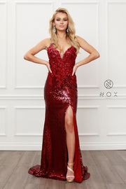 Applique Fitted Sequin Gown by Nox Anabel R429