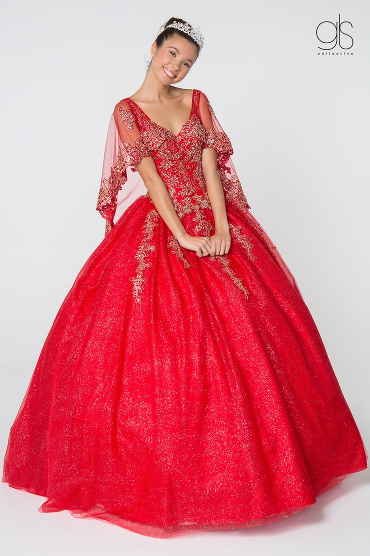 Applique Glitter V-Neck Ball Gown with Cape by Elizabeth K GL2800-Quinceanera Dresses-ABC Fashion