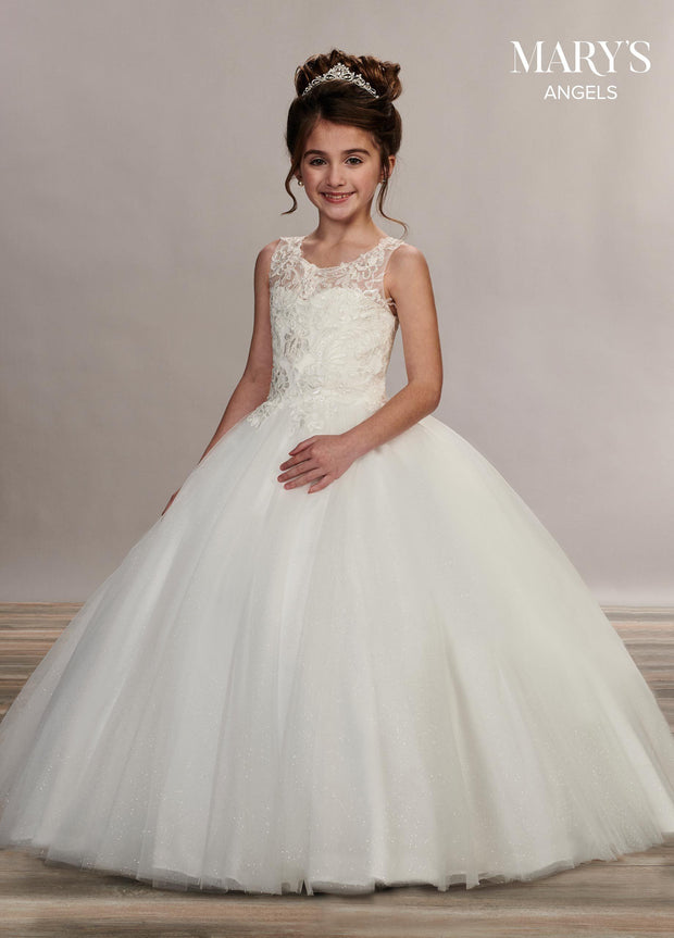 Applique Long Sleeveless Flower Girl Dress by Mary's Bridal MB9050-Girls Formal Dresses-ABC Fashion
