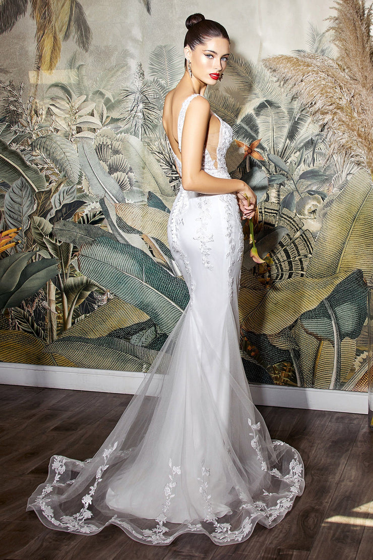 Applique Mermaid Bridal Gown by Cinderella Divine 9237W