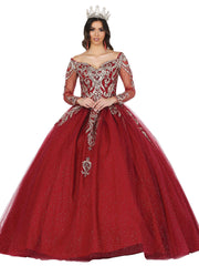 Applique Off Shoulder Ball Gown with Cape by Dancing Queen 1474