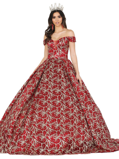 Applique Off Shoulder Illusion Ball Gown by Dancing Queen 1465