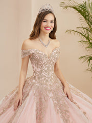 Applique Off Shoulder Quinceanera Dress by Fiesta Gowns 56400 (Size 28 - 30)
