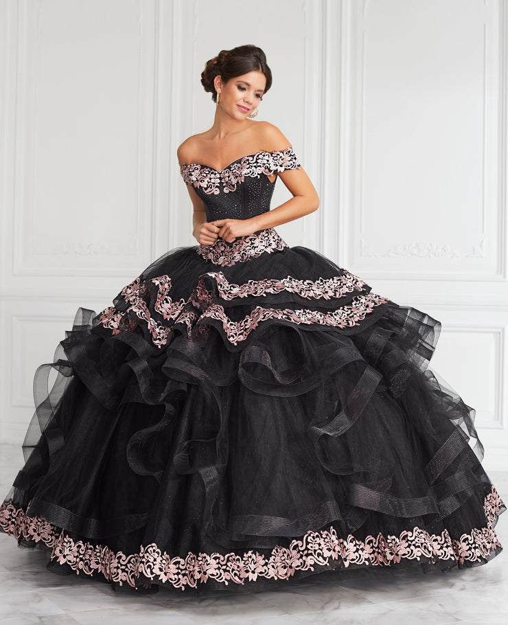 Applique Off Shoulder Tiered Quinceanera Dress by LA Glitter 24062-Quinceanera Dresses-ABC Fashion