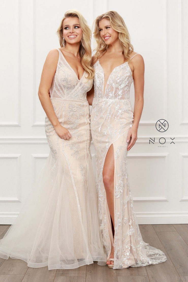 Applique Sleeveless Mermaid Gown by Nox Anabel E431