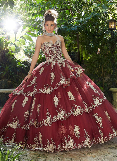 Applique Strapless Quinceanera Dress by Mori Lee Vizcaya 89258-Quinceanera Dresses-ABC Fashion
