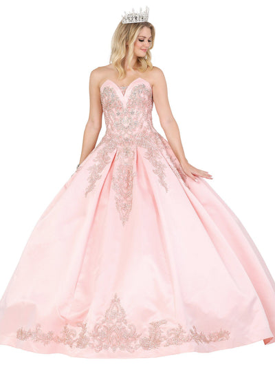 Applique Strapless Satin Ball Gown by Dancing Queen 1486