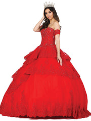 Applique Tiered Sweetheart Ball Gown by Dancing Queen 1404