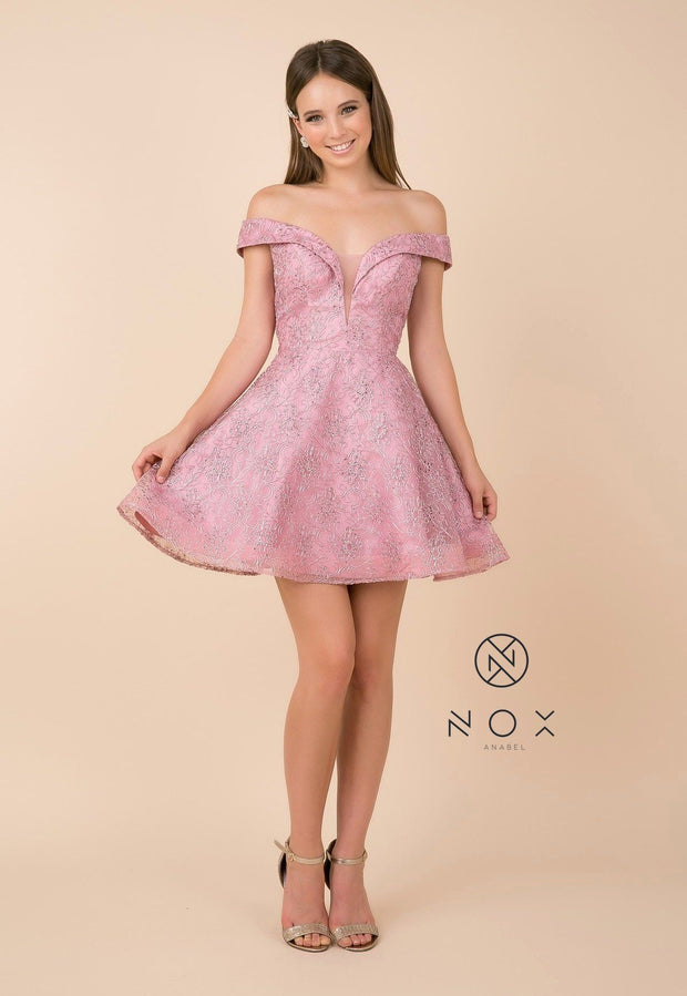 Appliqued Short Off Shoulder A-line Dress by Nox Anabel A676-Short Cocktail Dresses-ABC Fashion