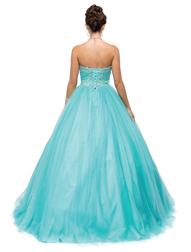 Aqua Strapless Sweetheart Ball Gown by Dancing Queen 1145-Quinceanera Dresses-ABC Fashion