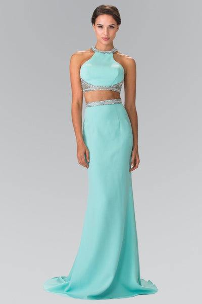 Aqua Two-Piece Dress with Beaded Accents by Elizabeth K GL2256-Long Formal Dresses-ABC Fashion