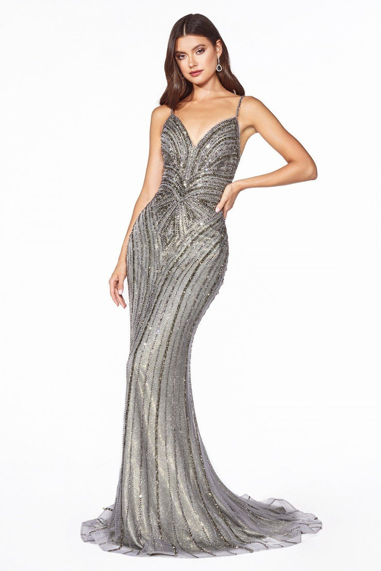 Art Deco Long Metallic Mermaid Dress by Cinderella Divine KC898-Long Formal Dresses-ABC Fashion